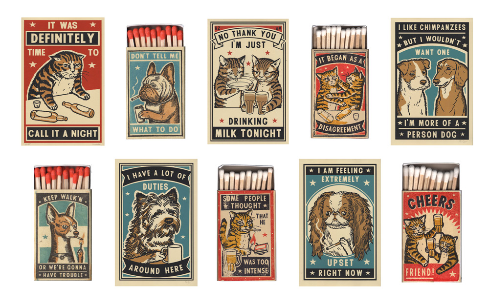 Dog and Cat Matchboxes and Posters by Ravi Zupa